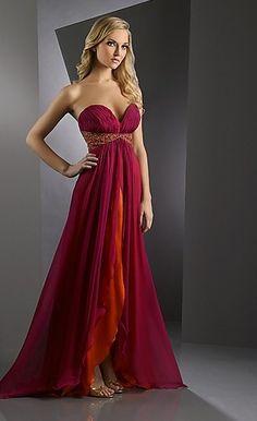 A-line Hotsale Orange and Fuchsia Overlaylor Shimmer 59912  / Long Prom Dresses  P288037