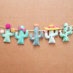 Kaktus Ideen - Dekotrend für den Sommer // Welcome to my colourful world of felt! Felt Diy, Felt Crafts, Fabric Crafts, Crafts For Kids, Felt Garland, Felt Ornaments, Cactus Decor, Sewing Patterns For Kids, Diy Arts And Crafts