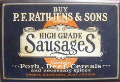 Vintage Butcher Shop Signs | Old Tin Shop Sign Rathjen's Sausages Vintage Butcher's Shop Shabby Ch ...