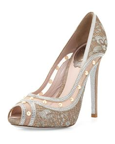 Rene Caovilla Lace Peep-Toe Pump   we ❤ this!  moncheribridals.com  #weddingshoes #bridalshoes