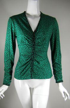 CARLISLE Green Giraffe Print Long Sleeve Rouged Front Top Blouse Size Small #Carlisle #Blouse