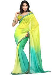 Yellow coloured embellished saree for women by Inddus. Made from georgette, this saree measures 5.5 m in length, and comes with unstitched blouse piece of 0.8 m.