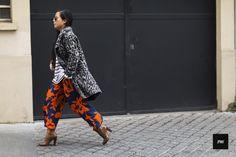Batik Print Trousers, Brittany T, Black n White Duster, Ankle Strap Flats.