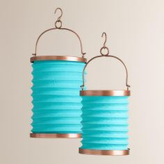 Blue Fabric Folding Lanterns | World Market