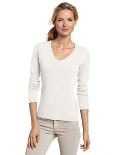 Lark & Ro Women's 100% Cashmere V- Neck Sweater with Side Stich ...