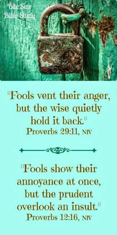 Fools vent their ange, but the wise quietly hod it back Proberbs 29:11 Fools show their annoyance at once, but the prudent overlook an insult. Proverbs 12:16
