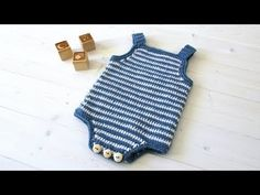 How to crochet a simple striped baby romper / onesie - YouTube