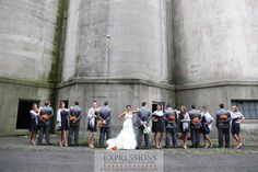 Group photos were taken amongst the old grain elevators in Buffalo.