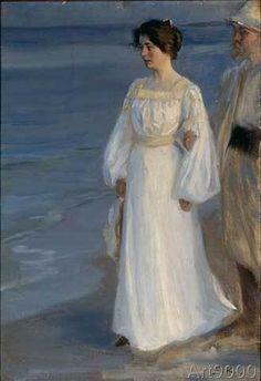 Peter Severin Krøyer (Danish, 1851-1909) - Marie Kroyer on the Beach