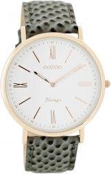 Oozoo Ultra Slim Vintage Uhr C7705 - grau/rose - 40 mm - Lederband