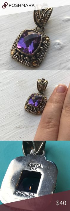 🆕Amethyst, 18k Gold, Silver Pendant🆕 This piece is absolutely stunning! Small, about the size of a quarter. Can be worn on any style chain. Stamped 18k 925 BA Indonesia. Bali style. No scratches, excellent condition. 🌱Feel free to ask me any questions! Make me an offer! All items must go. Check out my closet for more. Thanks for looking!🌱 Jewelry Necklaces