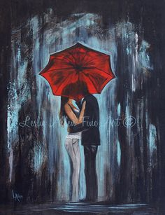 Couple Painting Couple Red Umbrella Abstract by LeslieAllenFineArt, $135.00