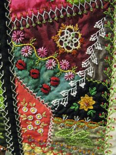 Cactus Needle Quilts, Fabric and More: Search results for Little darlings crazy quilt Crazy Quilting, Crazy Quilt Stitches, Crazy Quilt Blocks, Patch Quilt, Patchwork Quilting, Ribbon Embroidery, Embroidery Art, Embroidery Stitches, Embroidery Patterns