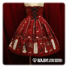 black cat apple tree witch skirt $222 in red--If I could make something like this someday I could die happy lol