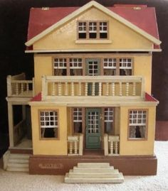 Antique German Moritz Gottschalk Red Roof Dollhouse #6309 Elevator Electrified in Dolls & Bears, Dollhouse Miniatures, Doll Houses | eBay