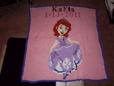 Red headed Sofia the First blanket for 3 year old