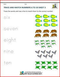 preschool worksheets trace and match numbers 6 to 10 3