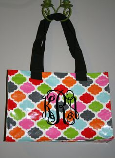 These make GREAT beach bags! Check out Ludabelles on Etsy several monogram designs and vinyl colors!