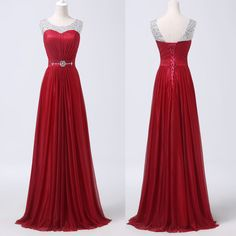 Red Scoop Neck Beaded Long Prom Formal Evening Pageant Gown Wedding Party Dress in Clothing, Shoes & Accessories, Clothing, Shoes & Accessories | eBay