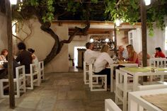 Levantis garden restaurant - rec from Conde Nast in Paros Sailing Greece, Paros Island, Greek Restaurants, Table And Chairs, Tables, Greece Islands, Old Town, Athens, Minimalism