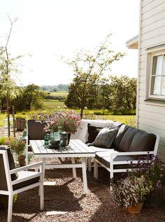 Bergerac trädgårdssoffa, fåtölj och bord i vitt och grått, Brafab