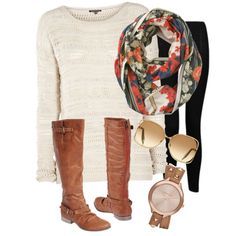 Boots, sweater, scarf and leggings great transition into fall.