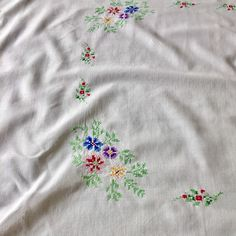 A personal favourite from my Etsy shop https://www.etsy.com/uk/listing/534648629/hand-embroidered-vintage-tablecloth