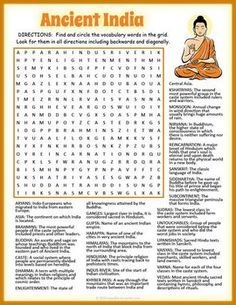 Ancient India Word Search Puzzle Worksheet.  This fun activity includes a definition for each of the vocabulary terms.