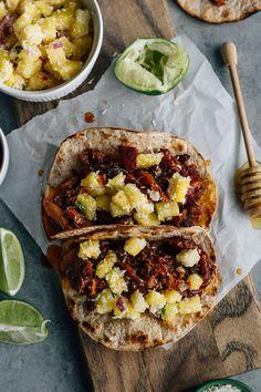 Honey Ginger Pork Tacos | thealmondeater.com