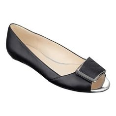 Baybrynne's angular buckle puts a fresh spin on classic peep-toe flats. Padded footbed for all-day comfort. Leather upper. Man-made lining and sole. Imported. Flat heel. Women's shoes. Peep-toe flats.