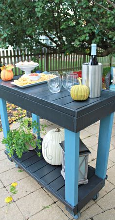 DIY Rolling Bar Cart -- tutorial and instructions on how to make a DIY bar cart!