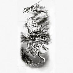 Image result for kraken and ship tattoo