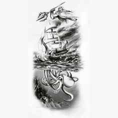 Image result for kraken and ship tattoo