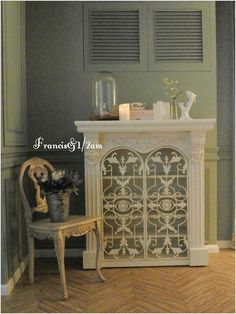 A fireplace-style cabinet. Love it so much!!