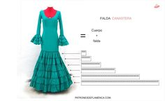 patron flamenca.falda canastera - Buscar con Google Flamenco Costume, Mexican Dresses, Dress Sewing Patterns, Dance Wear, Vintage Sewing, Pretty Outfits, Marie, Couture, Chic