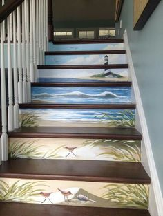 From wood pallet beds to decorated wood stairs, and many other wood decoration ideas, and I'm sure you will be inspired by what you see here! Painted Staircases, Painted Stairs, Beach Stairs, Wood Pallet Beds, Stair Art, Escalier Design, Stair Risers, Stair Steps, Coastal Living Rooms