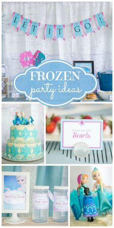A Disney's Frozen birthday celebration with Elsa and Anna, a snowflake cake, and Melted Olaf!  See more party planning ideas at CatchMyParty.com!