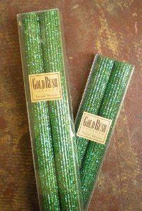 Emerald green glitter candles