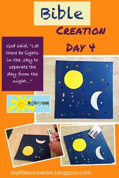 My Little Sonbeam: October Week 1 - Bible creation day 4 craft and activities. Bible memory verse and song. Mylittlesonbeam.blogspot.com  Follow on Facebook   Homeschool preschool learning activities for 2,3,4 year olds.