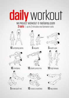 simple no-equipment workout for every day: nine exercises, ten reps per set. Visual guide: print & use.A simple no-equipment workout for every day: nine exercises, ten reps per set. Visual guide: print & use. Fitness Workouts, Easy Daily Workouts, Gym Workout Tips, Workout Challenge, No Equipment Workout, Fitness Tips, At Home Workouts, Fitness Equipment, 15 Minute Workout