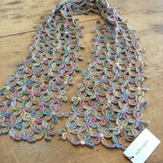 Sophie Digard Linen Scarf, One Only - Diy Crafts Crochet Lace Scarf, Crochet Hooded Scarf, Crochet Quilt, Crochet Scarves, Crochet Motif, Crochet Clothes, Crochet Flowers, Knit Crochet, Crochet Hats