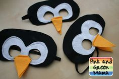 "Penguin Mask Template | For ""C""s penguin party she wanted penguin masks so I made some."