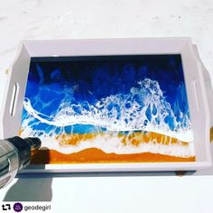 Beautiful Seascape Tray by created using only our products! So proud we can be your One Stop Shop 🥳 Our Premium Epoxy Resin is crystal clear, has high viscosity, touch dry in 4 hours and non toxic, ASTM certified 🤗 Plus lots of our E Diy Resin Art, Diy Resin Crafts, Uv Resin, Epoxy Resin Art, Resin Pour, Stick Crafts, Yarn Crafts, Acrylic Pouring Art, Acrylic Art
