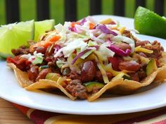 Chipotle Beef Tostadas Recipe from: Food Network Magazine noble pig Beef Recipes, Mexican Food Recipes, Dinner Recipes, Cooking Recipes, Healthy Recipes, Tostadas, Tamales, Quesadillas, Tostada Recipe Beef