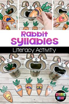Count the syllables of the pictures on the carrots and feed them to the right rabbit with this literacy activity for your spring preschool theme! 4 Year Old Activities, Preschool Learning Activities, Animal Activities, Spring Activities, Language Activities, Infant Activities, Spring Preschool Theme, Preschool Class, Work Activities