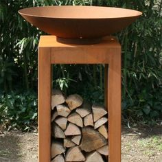 Socle pour colonne de feu en acier corten