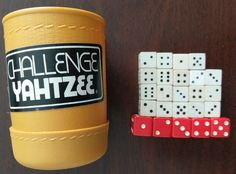 Vintage 1974 Challenge Yahtzee Game Dice Cup Shaker Roller Part/Piece with Dice #MiltonBradley