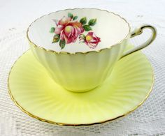 Paragon Tea Cup and Saucer Yellow with Ribbing and with Pink Roses, Vintage Bone China