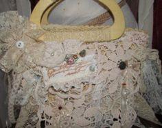 Woodland Faerie Purse, shabbys chic handbag, shabby reimagined tattered layered laces forest mori girl purse vintage shabby cottage bag