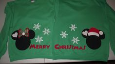 2 Sweatshirts - Mickey Minnie Mouse - Disney Merry Christmas Santa Snowflake Custom SweatShirts Personalized Applique. $48.00, via Etsy.